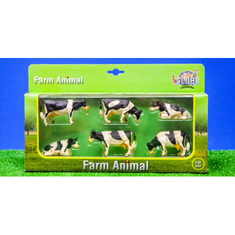 6 Vaches HOLSTEIN 570009 Kids Globe Farming 1/32