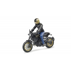 Moto Scrambler Ducati Cafe Racer avec Motard 63050 BRUDER