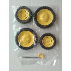 4 Roues étroites jaunes - Voie etroite - DE123 ARTISANAL 1/32