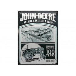 "Plaque en métal 30x40 JOHN DEERE ""100 Years of Tractors"" 63348"
