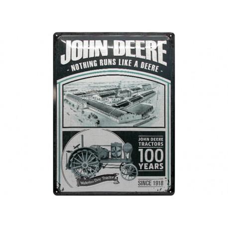 """Plaque en métal 30x40 JOHN DEERE """"100 Years of Tractors"""" 63348"""