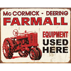 "Plaque en métal 31x40 FARMALL ""Equipment used here"" 1278"
