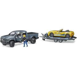 Miniature DODGE RAM 2500 Power Wagon avec remorque et voiture Roadster Racing team