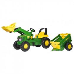 Tracteur à pédales Rolly Junior JOHN DEERE + pelle + remorque 811496 ROLLY TOYS
