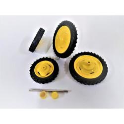 4 Roues étroites jaunes - Voie large - DE131 ARTISANAL 1/32
