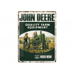 Plaque en métal 30x40 JOHN DEERE QUALITY FARM EQUIPMENT 23137